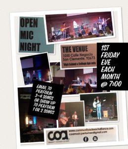 coa open mic every 1st friday
