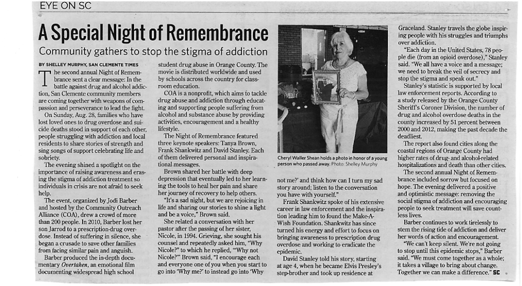 COA - A special night of remembrance - community gathers to stop the stigma of addiction