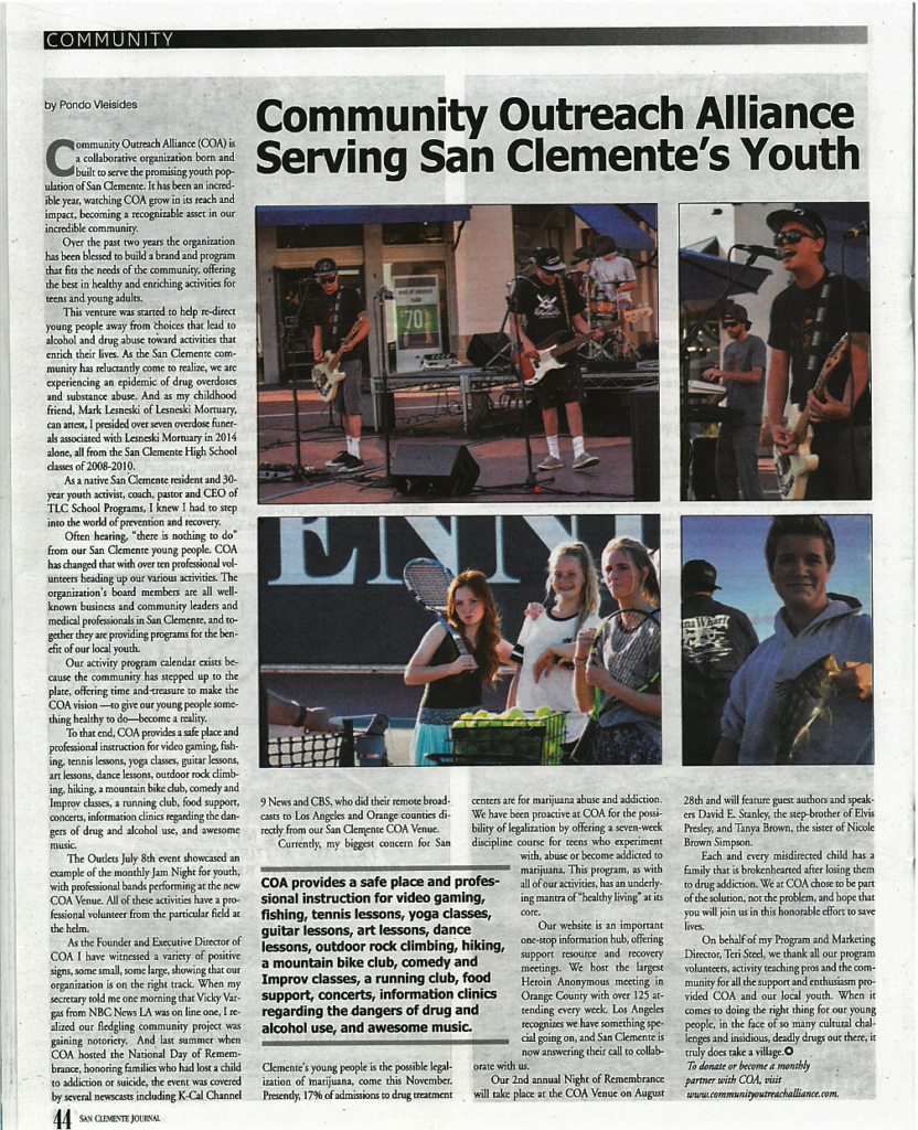 COA - Community Outreach Alliance Serving San Clemente's Youth - San Clemente Journal