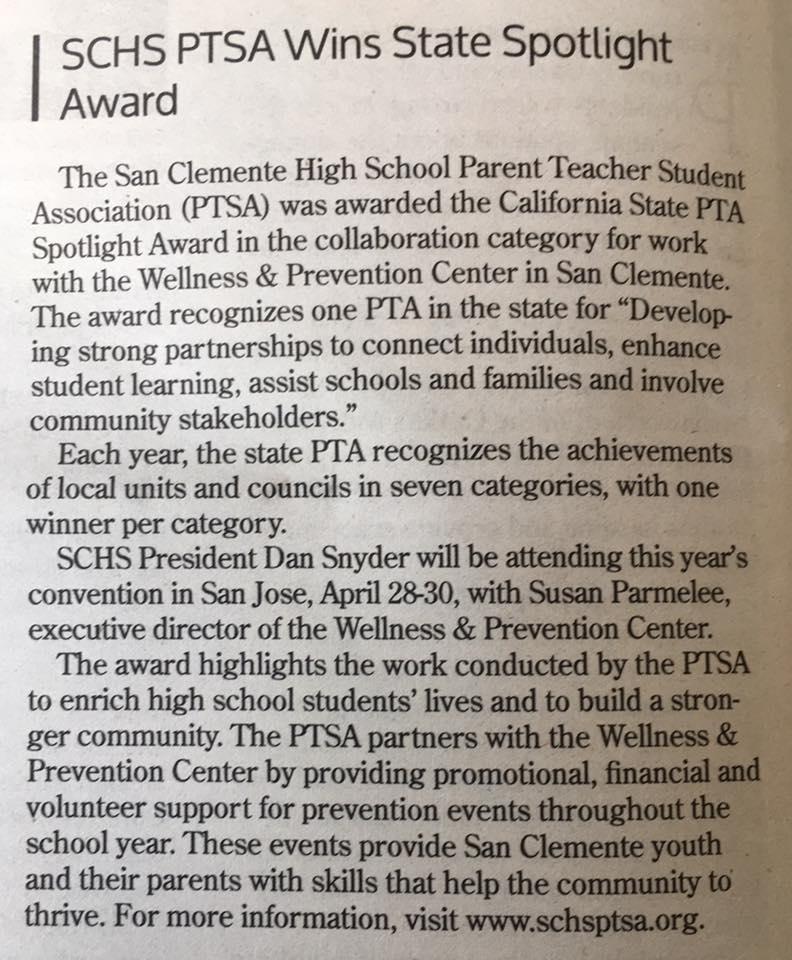 COA - SCHS PTSA Wins State Spotlight Award